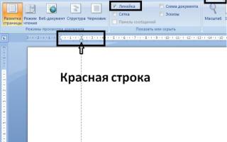 Красная строка в word